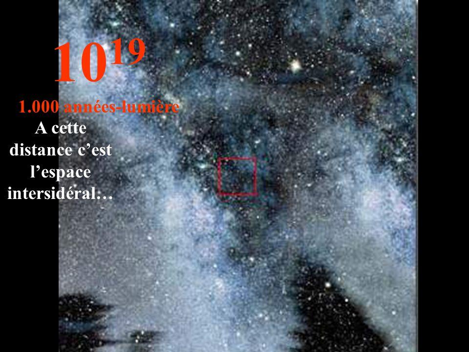 10 19 1.000 années-lumière A cette distance c'est l'espace intersidéral…