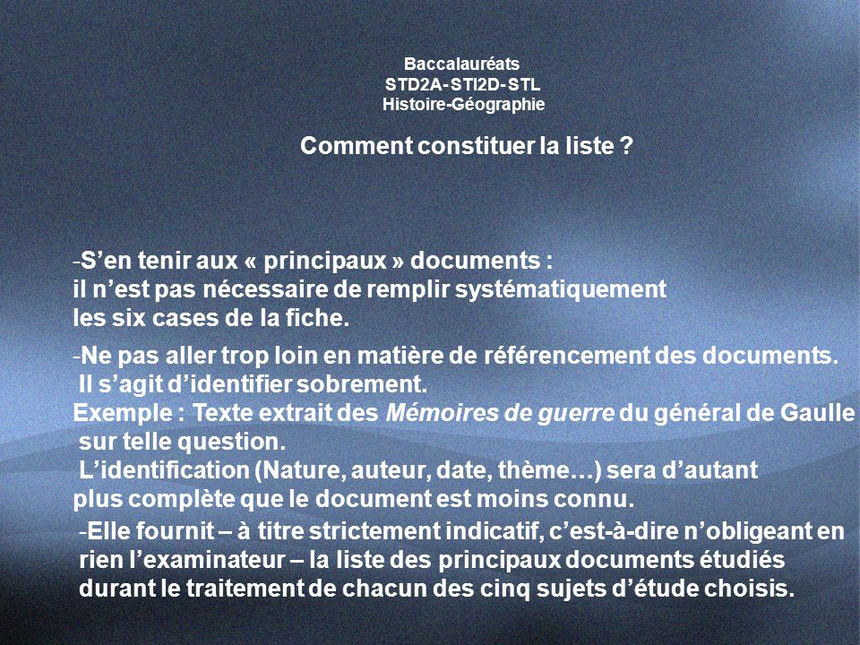 Baccalauréats STD2A- STI2D- STL Histoire-Géographie Comment constituer la liste .