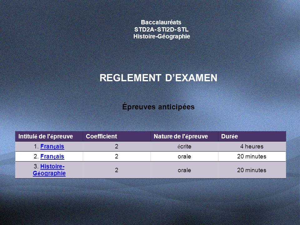 Baccalauréats STD2A- STI2D- STL Histoire-Géographie REGLEMENT D'EXAMEN Épreuves terminales Intitul é de l é preuve Coefficient Nature de l é preuveDur é e 4.