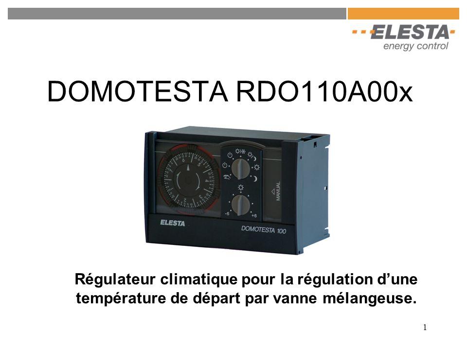 1 DOMOTESTA RDO110A00x Régulateur climatique pour la régulation d'une température de départ par vanne mélangeuse.