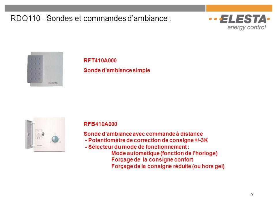 5 RDO110 - Sondes et commandes d'ambiance : RFT410A000 Sonde d'ambiance simple RFB410A000 Sonde d'ambiance avec commande à distance - Potentiomètre de correction de consigne +/-3K - Sélecteur du mode de fonctionnement : Mode automatique (fonction de l'horloge) Forçage de la consigne confort Forçage de la consigne réduite (ou hors gel)