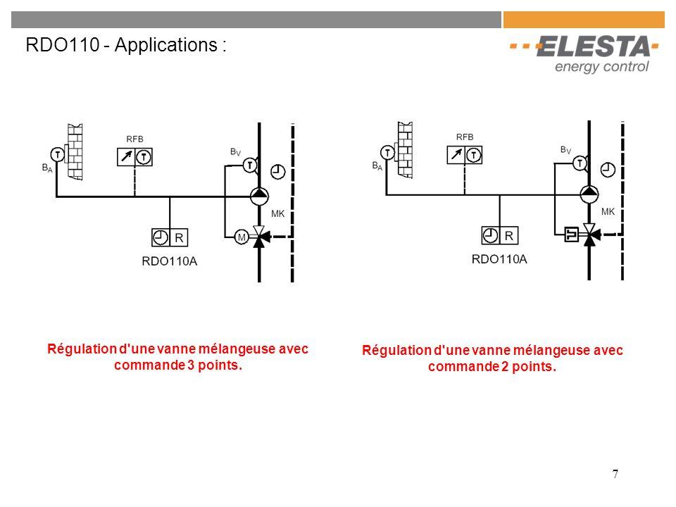 7 RDO110 - Applications : Régulation d une vanne mélangeuse avec commande 3 points.