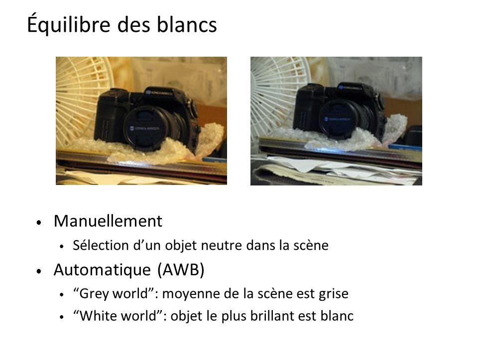 Manuellement Sélection d'un objet neutre dans la scène Automatique (AWB) Grey world : moyenne de la scène est grise White world : objet le plus brillant est blanc Équilibre des blancs