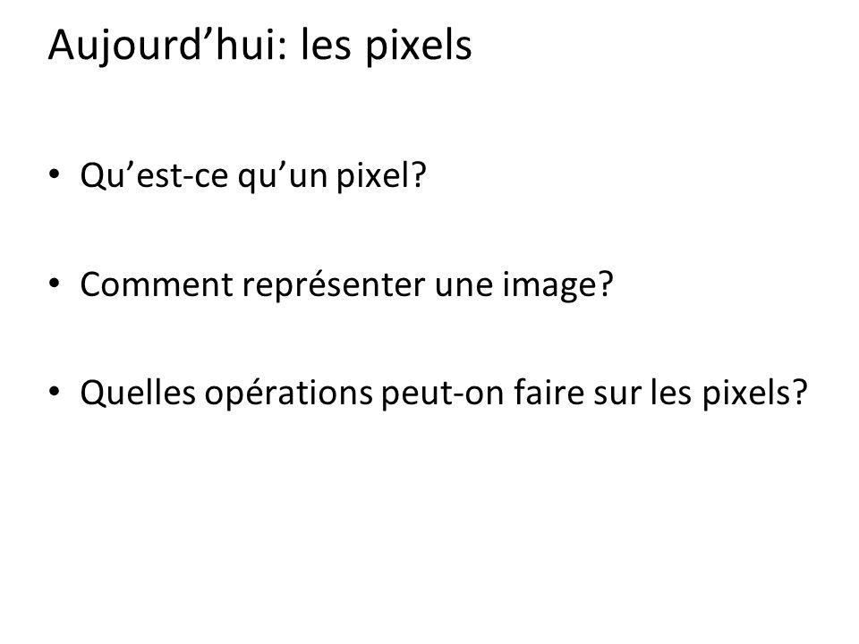 Aujourd'hui: les pixels Qu'est-ce qu'un pixel.Comment représenter une image.