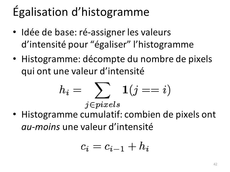 Égalisation d'histogramme Idée de base: ré-assigner les valeurs d'intensité pour égaliser l'histogramme Histogramme: décompte du nombre de pixels qui ont une valeur d'intensité Histogramme cumulatif: combien de pixels ont au-moins une valeur d'intensité 42