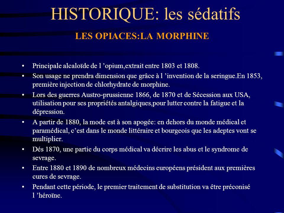 HISTORIQUE: les sédatifs LES OPIACES:LA MORPHINE Principale alcaloïde de l 'opium,extrait entre 1803 et 1808. Son usage ne prendra dimension que grâce
