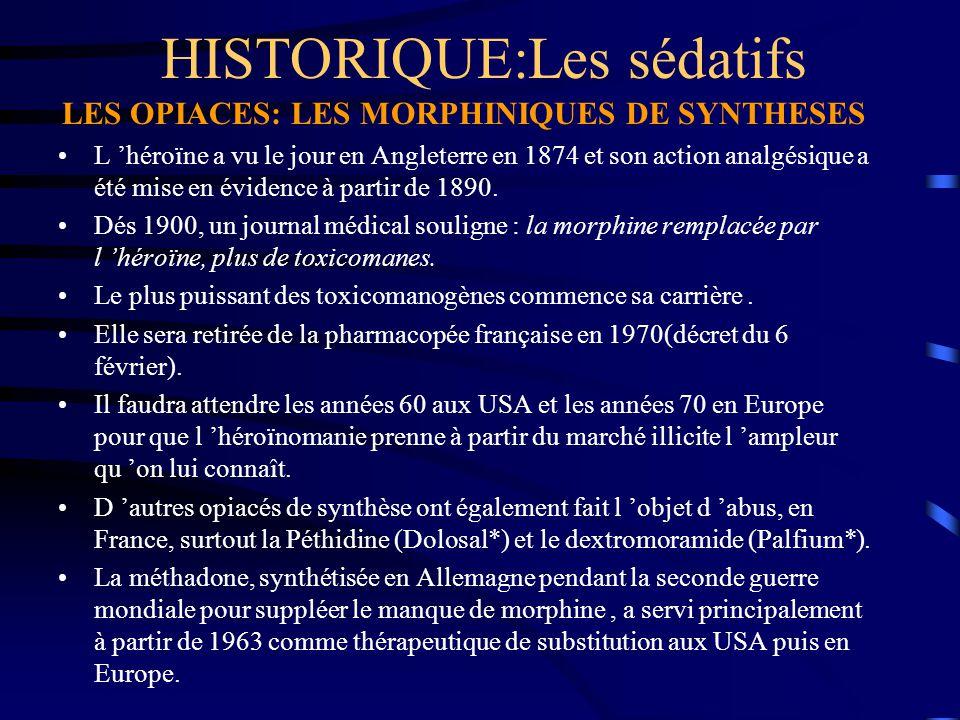 HISTORIQUE:Les sédatifs LES OPIACES: LES MORPHINIQUES DE SYNTHESES L 'héroïne a vu le jour en Angleterre en 1874 et son action analgésique a été mise