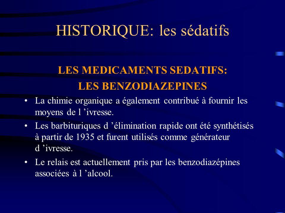 HISTORIQUE: les sédatifs LES MEDICAMENTS SEDATIFS: LES BENZODIAZEPINES La chimie organique a également contribué à fournir les moyens de l 'ivresse. L