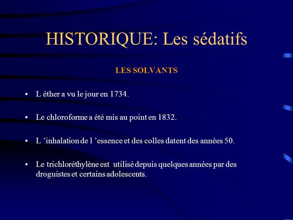 HISTORIQUE: Les sédatifs LES SOLVANTS L éther a vu le jour en 1734. Le chloroforme a été mis au point en 1832. L 'inhalation de l 'essence et des coll