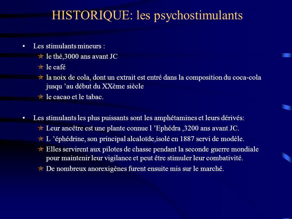 HISTORIQUE: les psychostimulants Les stimulants mineurs :  le thé,3000 ans avant JC  le café  la noix de cola, dont un extrait est entré dans la co