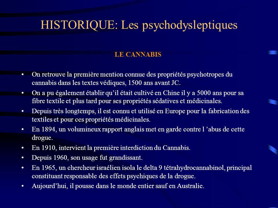 HISTORIQUE: Les psychodysleptiques LE CANNABIS On retrouve la première mention connue des propriétés psychotropes du cannabis dans les textes védiques