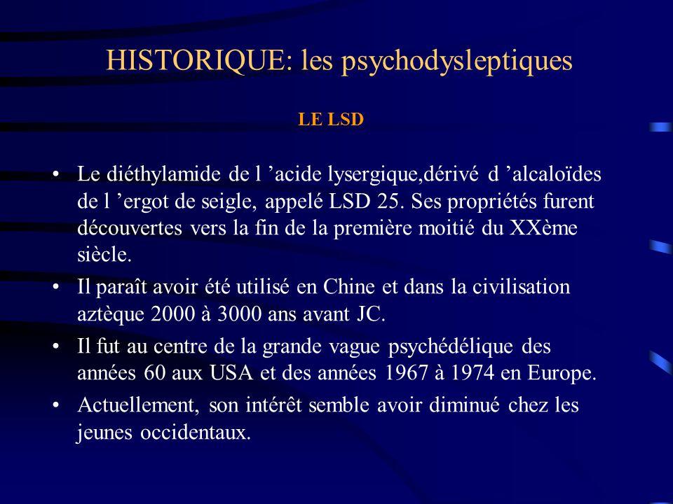 HISTORIQUE: les psychodysleptiques LE LSD Le diéthylamide de l 'acide lysergique,dérivé d 'alcaloïdes de l 'ergot de seigle, appelé LSD 25. Ses propri