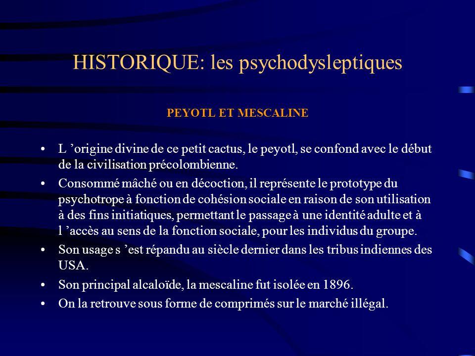 HISTORIQUE: les psychodysleptiques PEYOTL ET MESCALINE L 'origine divine de ce petit cactus, le peyotl, se confond avec le début de la civilisation pr