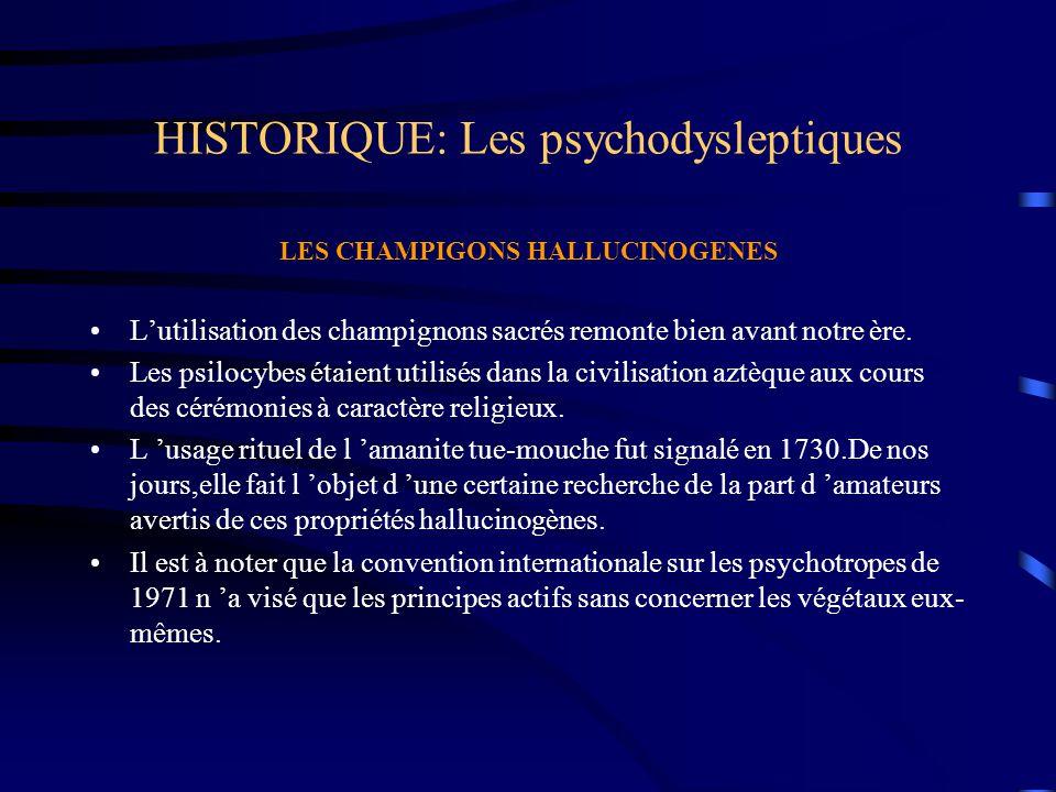 HISTORIQUE: Les psychodysleptiques LES CHAMPIGONS HALLUCINOGENES L'utilisation des champignons sacrés remonte bien avant notre ère. Les psilocybes éta