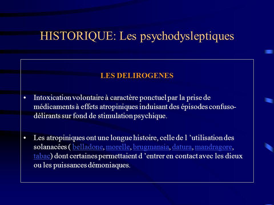 HISTORIQUE: Les psychodysleptiques LES DELIROGENES Intoxication volontaire à caractère ponctuel par la prise de médicaments à effets atropiniques indu