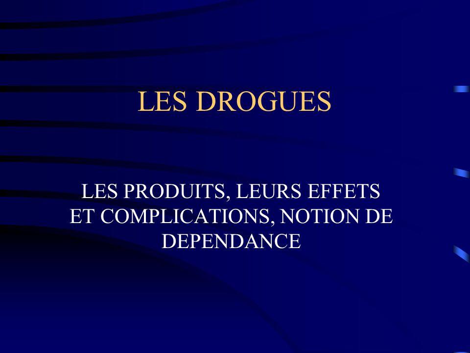 LES DROGUES LES PRODUITS, LEURS EFFETS ET COMPLICATIONS, NOTION DE DEPENDANCE
