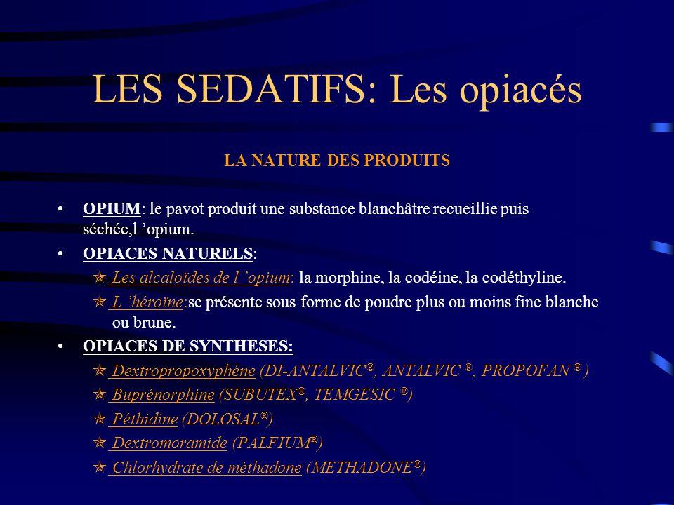 LES SEDATIFS: Les opiacés LA NATURE DES PRODUITS OPIUM: le pavot produit une substance blanchâtre recueillie puis séchée,l 'opium. OPIACES NATURELS: 