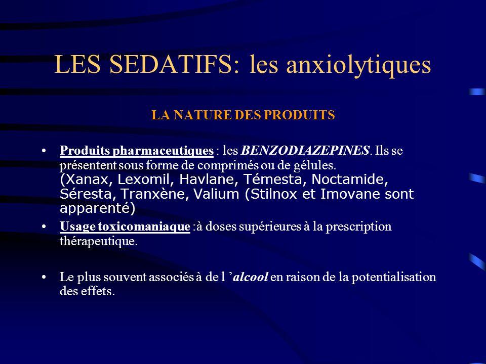 LES SEDATIFS: les anxiolytiques LA NATURE DES PRODUITS Produits pharmaceutiques : les BENZODIAZEPINES. Ils se présentent sous forme de comprimés ou de