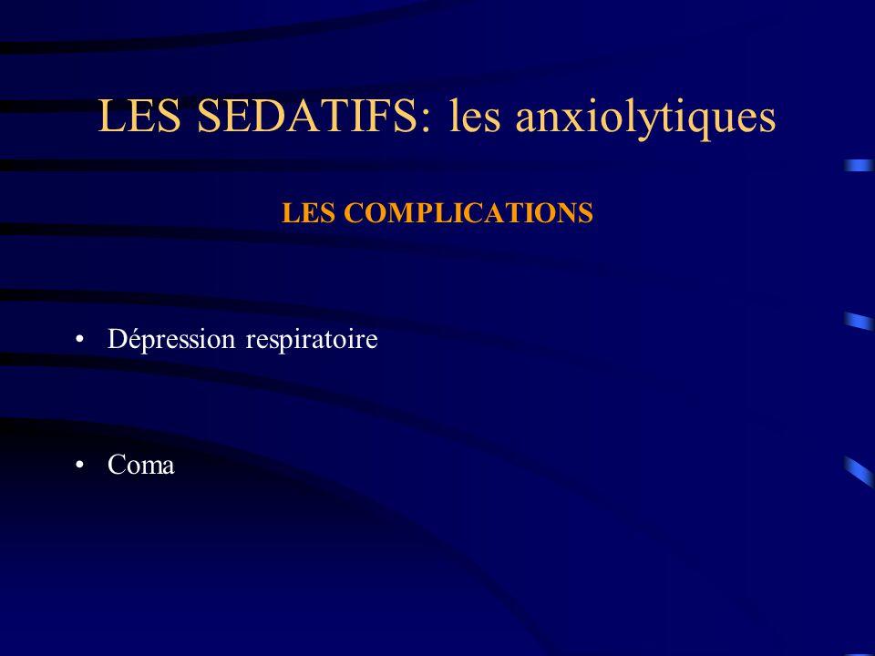 LES SEDATIFS: les anxiolytiques LES COMPLICATIONS Dépression respiratoire Coma