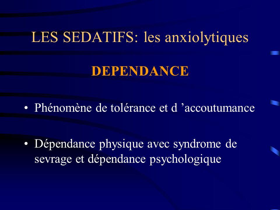 LES SEDATIFS: les anxiolytiques DEPENDANCE Phénomène de tolérance et d 'accoutumance Dépendance physique avec syndrome de sevrage et dépendance psycho