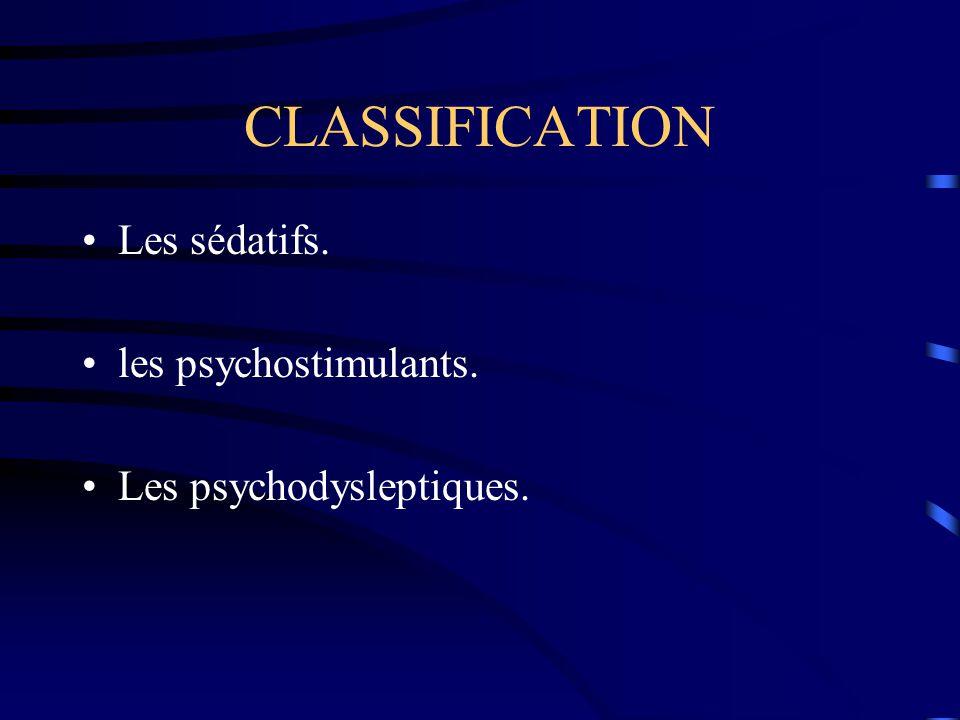 Les sédatifs. les psychostimulants. Les psychodysleptiques.