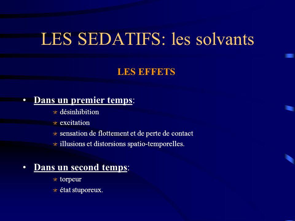 LES SEDATIFS: les solvants LES EFFETS Dans un premier temps:  désinhibition  excitation  sensation de flottement et de perte de contact  illusions