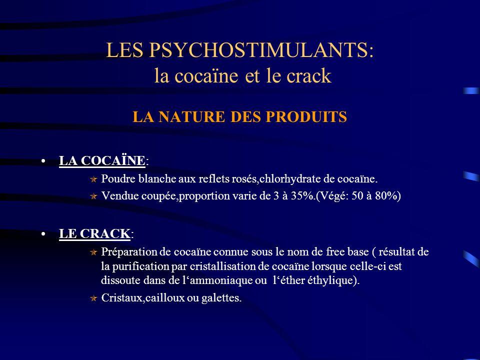 LES PSYCHOSTIMULANTS: la cocaïne et le crack LA NATURE DES PRODUITS LA COCAÏNE:  Poudre blanche aux reflets rosés,chlorhydrate de cocaïne.  Vendue c