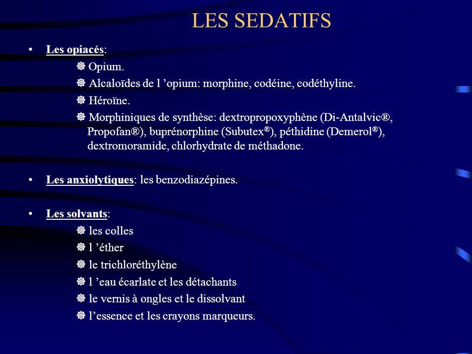 LES SEDATIFS Les opiacés:  Opium.  Alcaloïdes de l 'opium: morphine, codéine, codéthyline.  Héroïne.  Morphiniques de synthèse: dextropropoxyphène