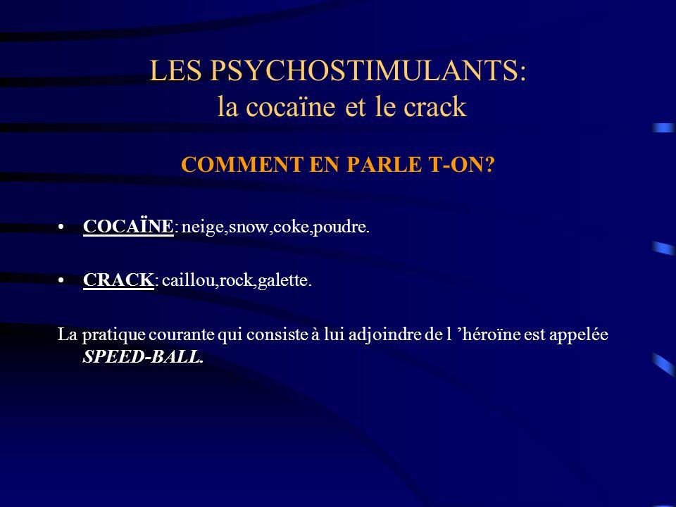 LES PSYCHOSTIMULANTS: la cocaïne et le crack COMMENT EN PARLE T-ON? COCAÏNE: neige,snow,coke,poudre. CRACK: caillou,rock,galette. La pratique courante