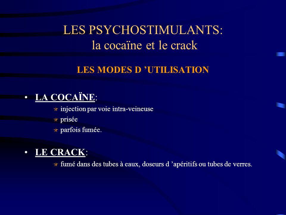 LES PSYCHOSTIMULANTS: la cocaïne et le crack LES MODES D 'UTILISATION LA COCAÏNE:  injection par voie intra-veineuse  prisée  parfois fumée. LE CRA
