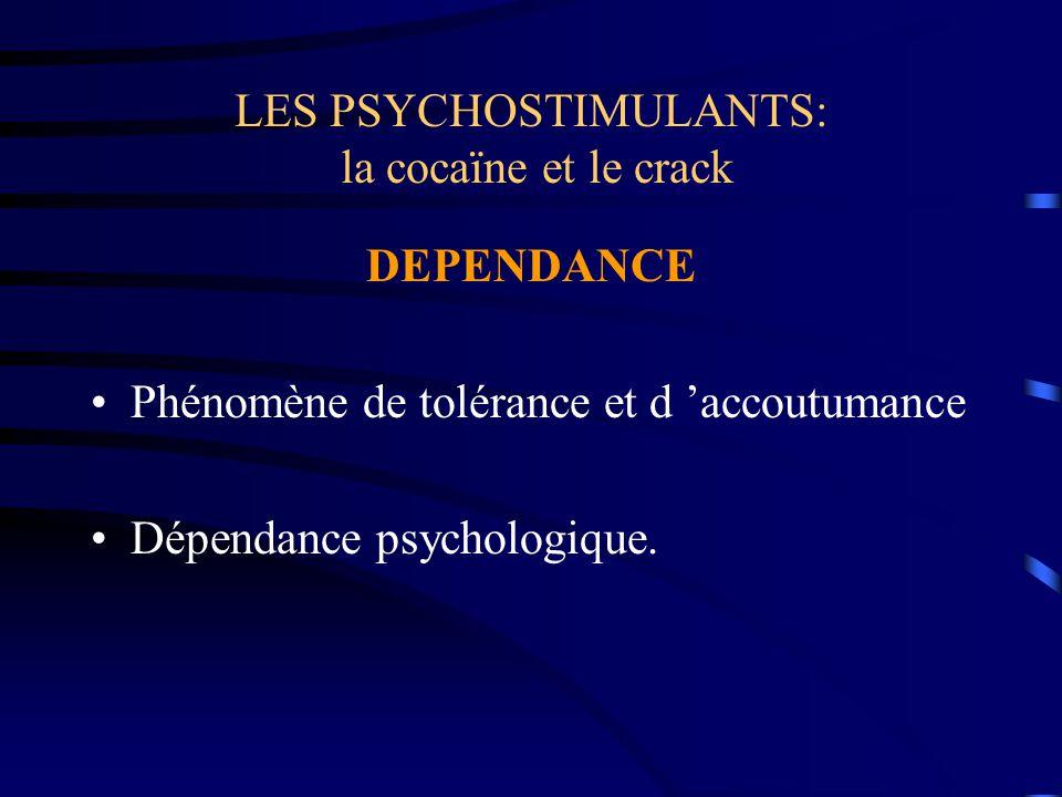 LES PSYCHOSTIMULANTS: la cocaïne et le crack DEPENDANCE Phénomène de tolérance et d 'accoutumance Dépendance psychologique.
