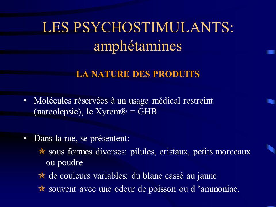 LES PSYCHOSTIMULANTS: amphétamines LA NATURE DES PRODUITS Molécules réservées à un usage médical restreint (narcolepsie), le Xyrem® = GHB Dans la rue,