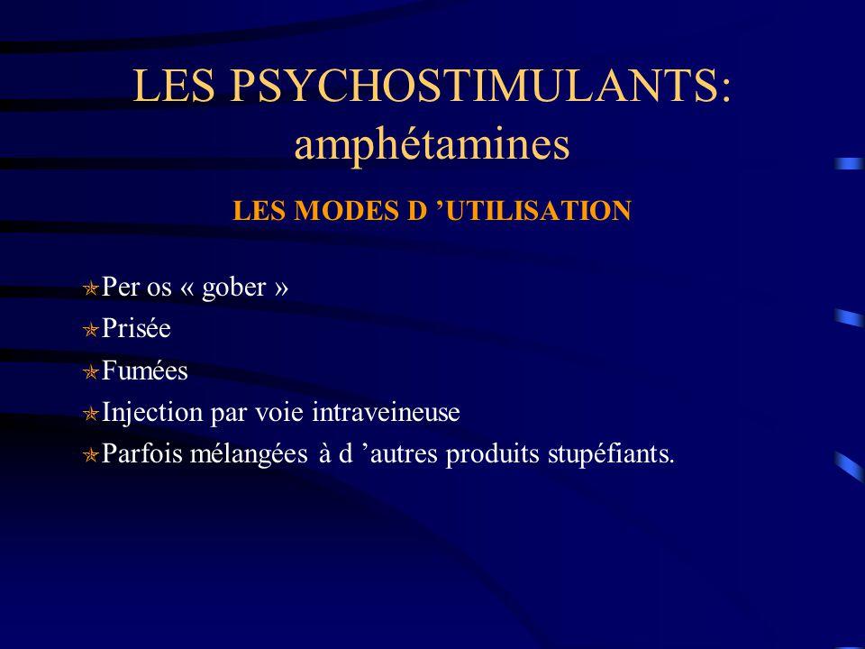 LES PSYCHOSTIMULANTS: amphétamines LES MODES D 'UTILISATION  Per os « gober »  Prisée  Fumées  Injection par voie intraveineuse  Parfois mélangée