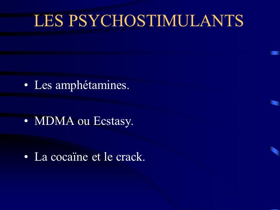 LES PSYCHOSTIMULANTS Les amphétamines. MDMA ou Ecstasy. La cocaïne et le crack.