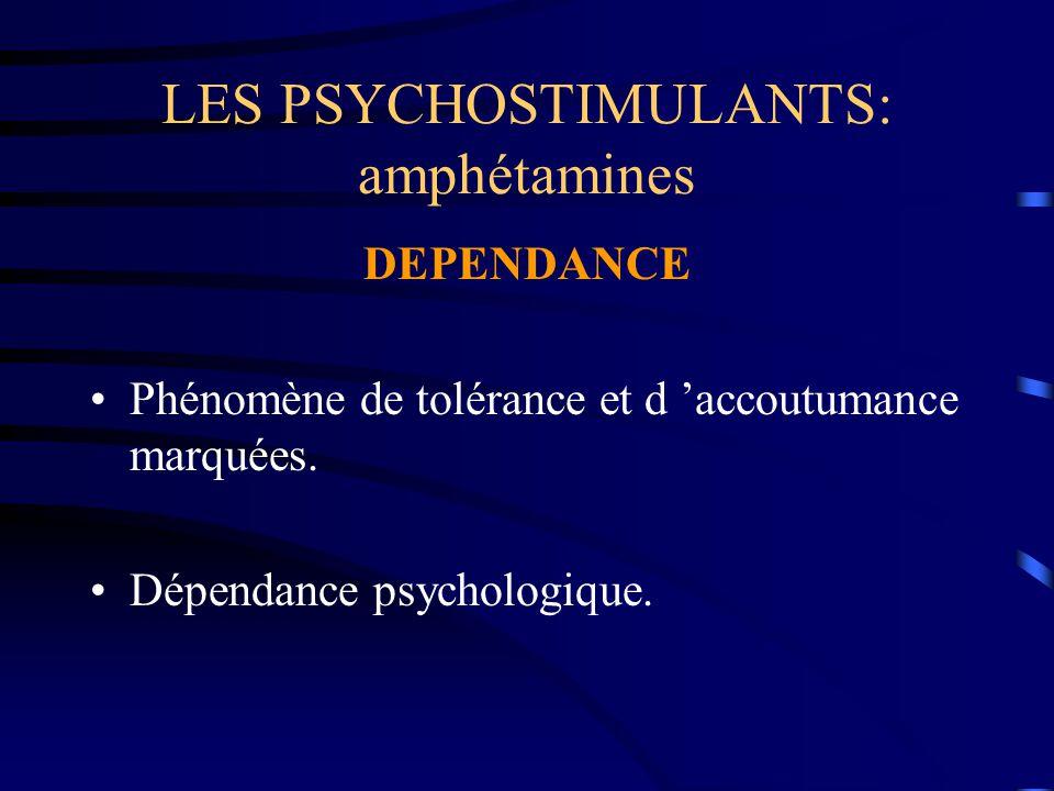 LES PSYCHOSTIMULANTS: amphétamines DEPENDANCE Phénomène de tolérance et d 'accoutumance marquées. Dépendance psychologique.