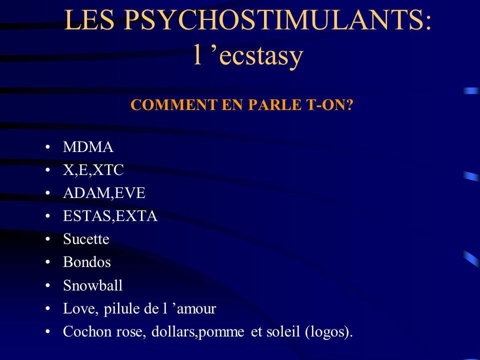 LES PSYCHOSTIMULANTS: l 'ecstasy COMMENT EN PARLE T-ON? MDMA X,E,XTC ADAM,EVE ESTAS,EXTA Sucette Bondos Snowball Love, pilule de l 'amour Cochon rose,