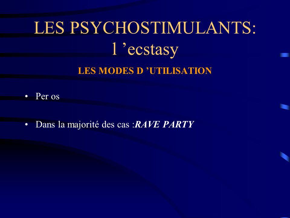 LES PSYCHOSTIMULANTS: l 'ecstasy LES MODES D 'UTILISATION Per os Dans la majorité des cas :RAVE PARTY
