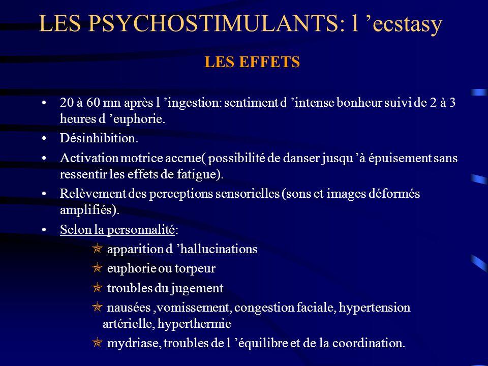 LES PSYCHOSTIMULANTS: l 'ecstasy LES EFFETS 20 à 60 mn après l 'ingestion: sentiment d 'intense bonheur suivi de 2 à 3 heures d 'euphorie. Désinhibiti