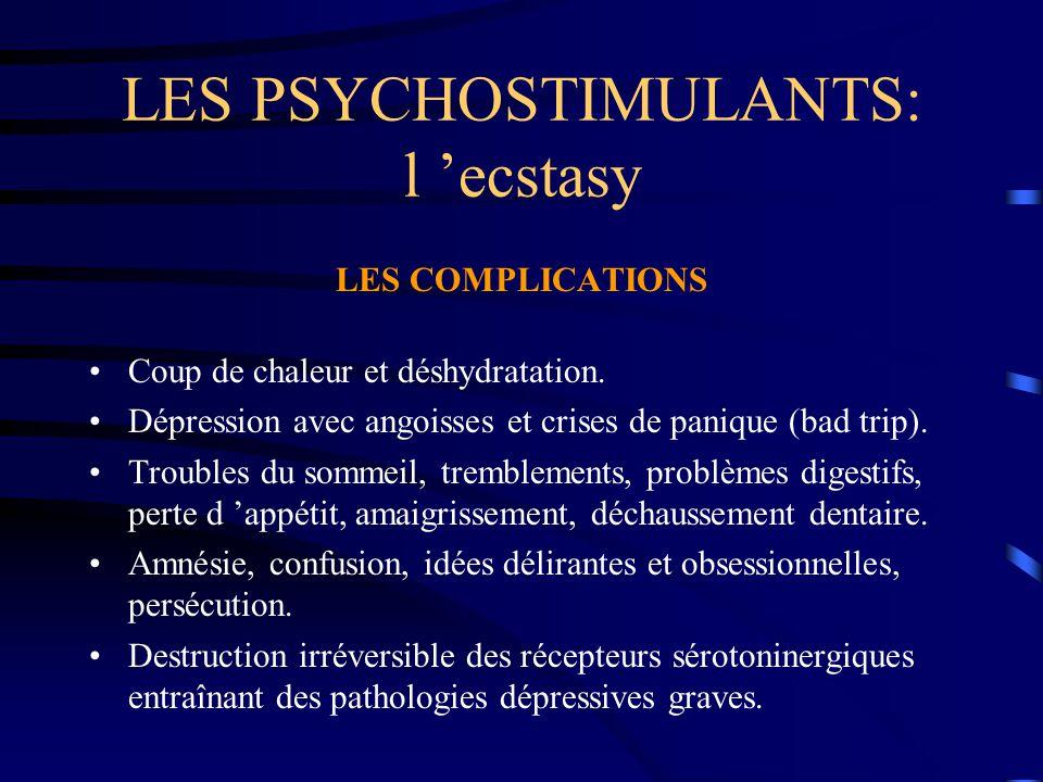 LES PSYCHOSTIMULANTS: l 'ecstasy LES COMPLICATIONS Coup de chaleur et déshydratation. Dépression avec angoisses et crises de panique (bad trip). Troub