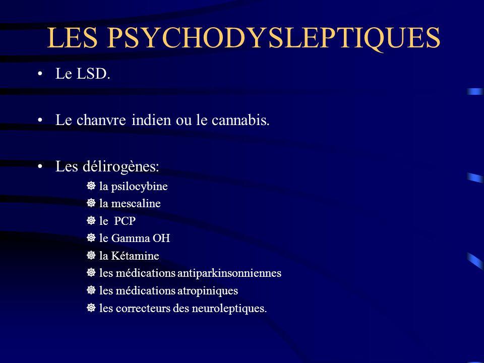 LES PSYCHODYSLEPTIQUES Le LSD. Le chanvre indien ou le cannabis. Les délirogènes:  la psilocybine  la mescaline  le PCP  le Gamma OH  la Kétamine