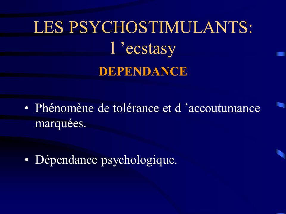 LES PSYCHOSTIMULANTS: l 'ecstasy DEPENDANCE Phénomène de tolérance et d 'accoutumance marquées. Dépendance psychologique.