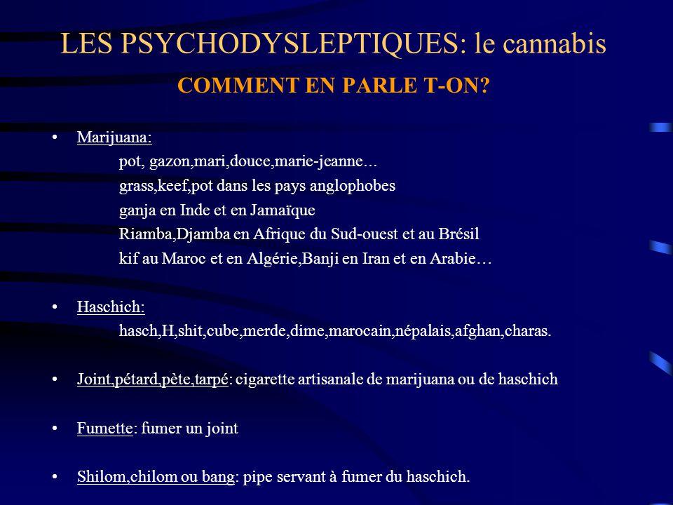LES PSYCHODYSLEPTIQUES: le cannabis COMMENT EN PARLE T-ON? Marijuana: pot, gazon,mari,douce,marie-jeanne … grass,keef,pot dans les pays anglophobes ga