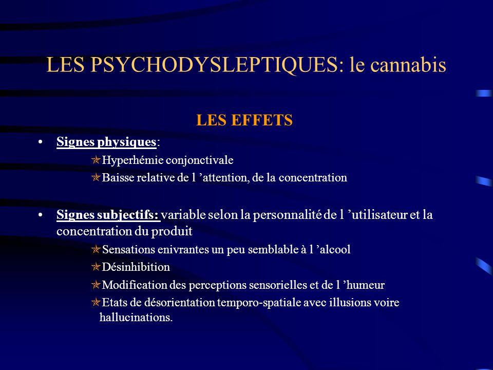 LES PSYCHODYSLEPTIQUES: le cannabis LES EFFETS Signes physiques:  Hyperhémie conjonctivale  Baisse relative de l 'attention, de la concentration Sig