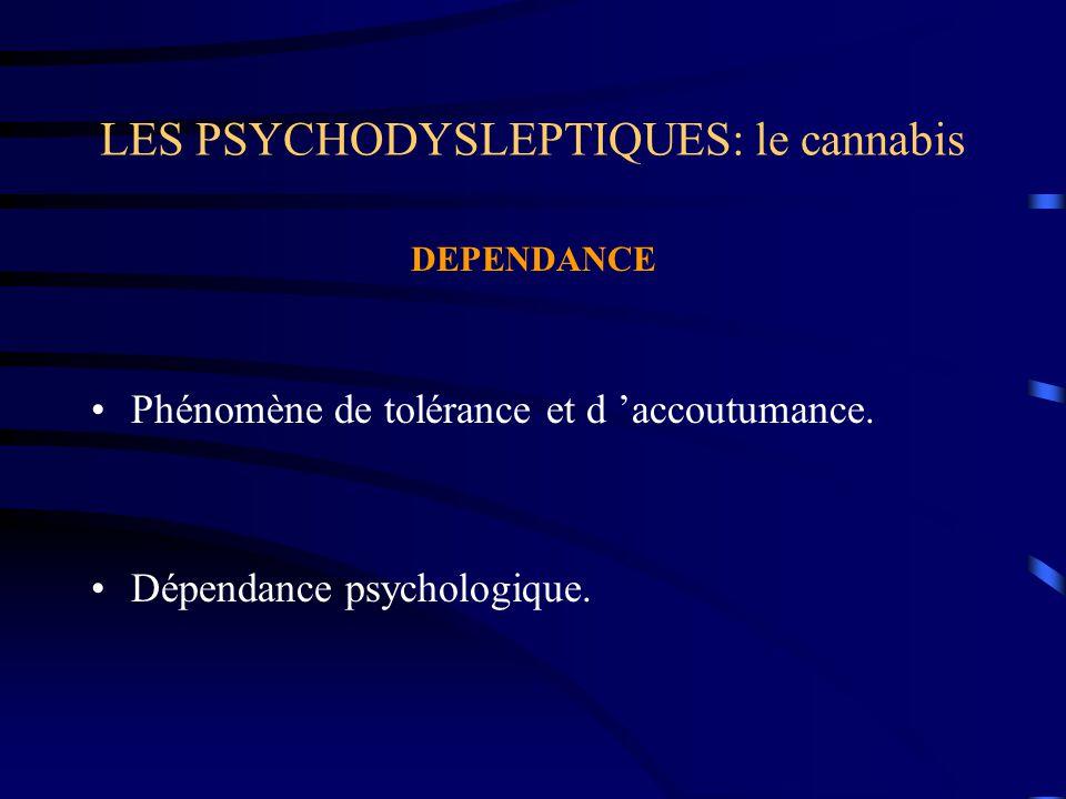 LES PSYCHODYSLEPTIQUES: le cannabis DEPENDANCE Phénomène de tolérance et d 'accoutumance. Dépendance psychologique.
