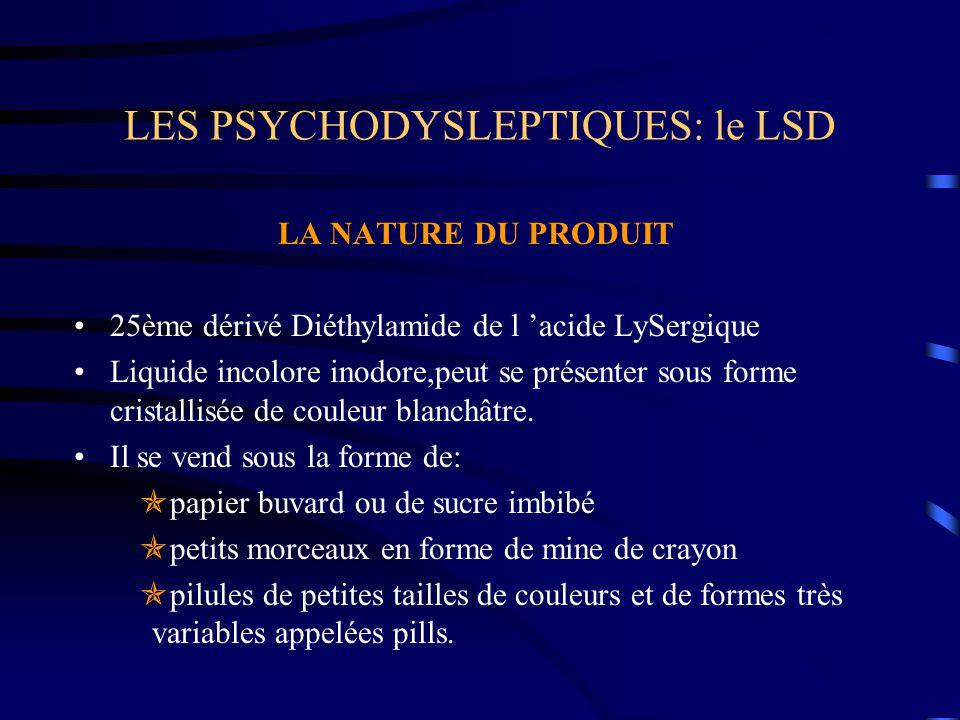 LES PSYCHODYSLEPTIQUES: le LSD LA NATURE DU PRODUIT 25ème dérivé Diéthylamide de l 'acide LySergique Liquide incolore inodore,peut se présenter sous f