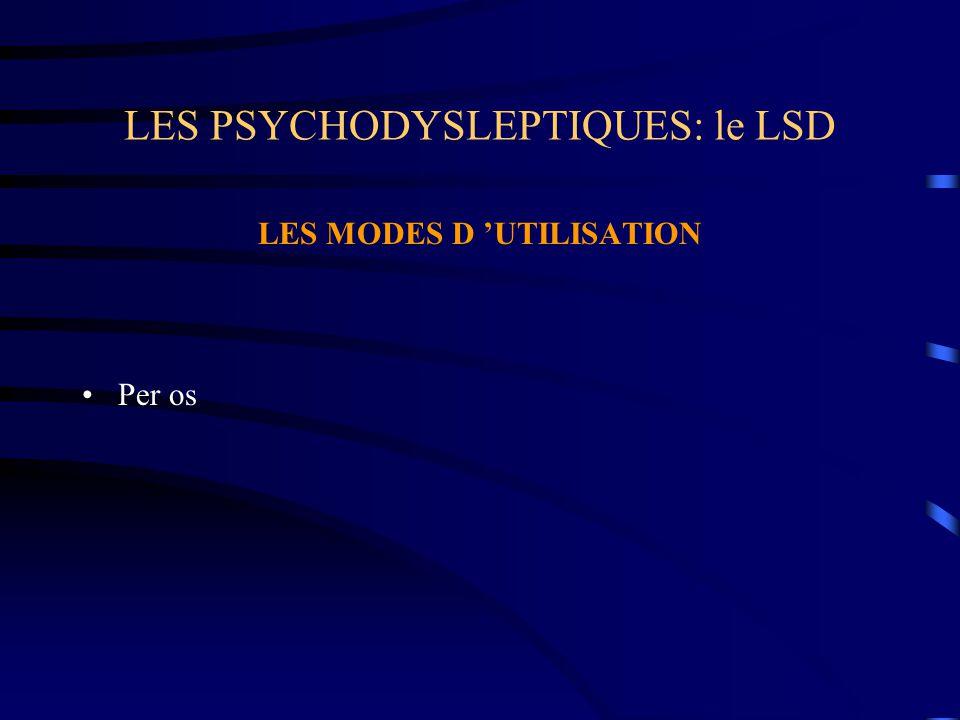 LES PSYCHODYSLEPTIQUES: le LSD LES MODES D 'UTILISATION Per os