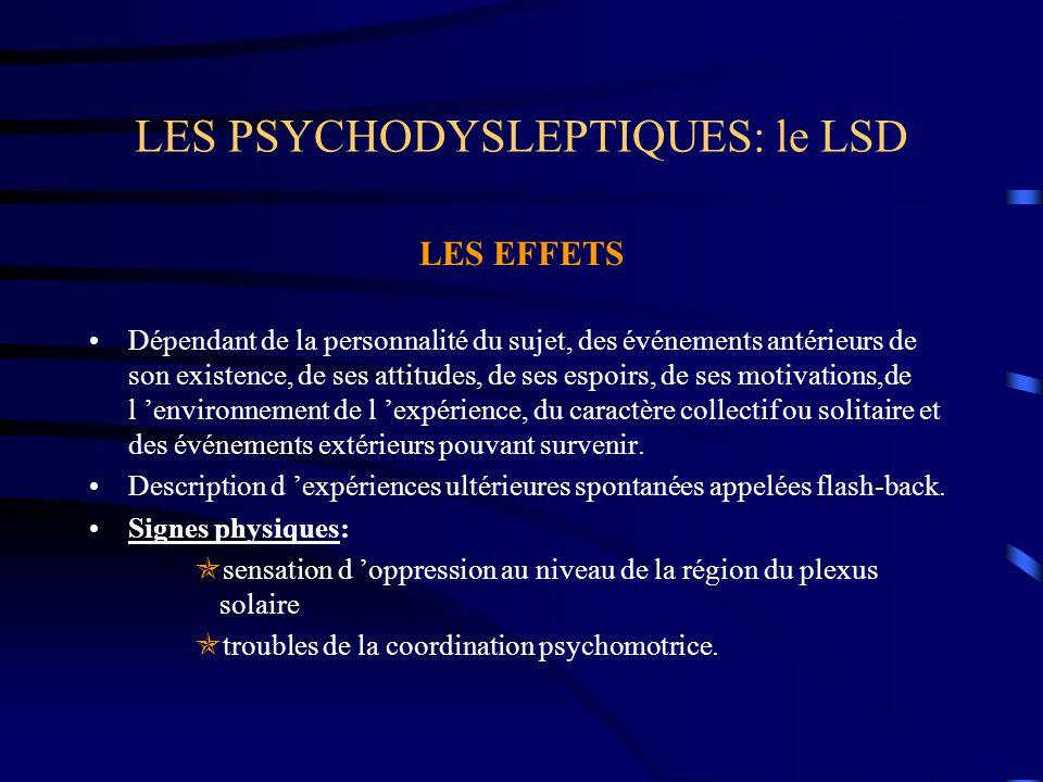 LES PSYCHODYSLEPTIQUES: le LSD LES EFFETS Dépendant de la personnalité du sujet, des événements antérieurs de son existence, de ses attitudes, de ses