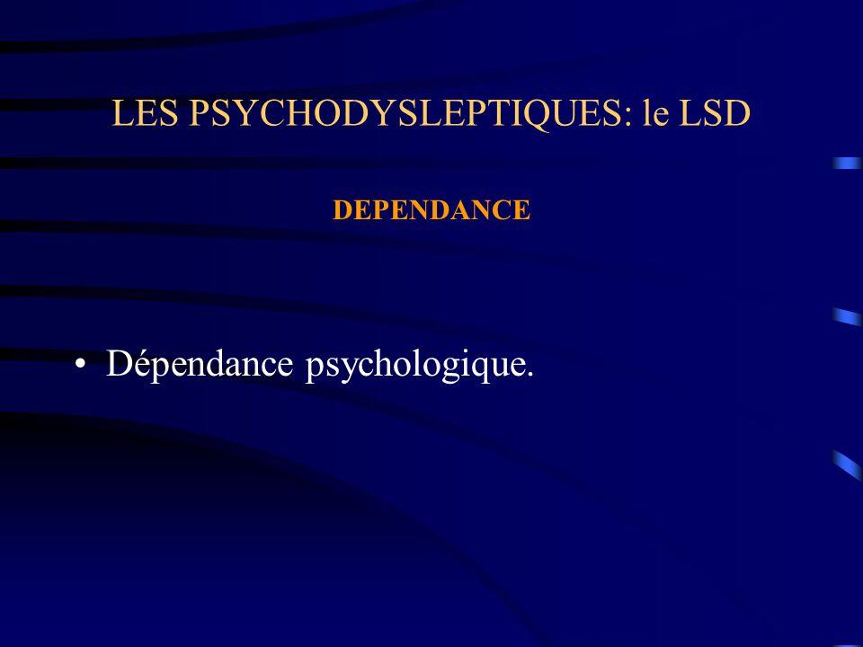 LES PSYCHODYSLEPTIQUES: le LSD DEPENDANCE Dépendance psychologique.