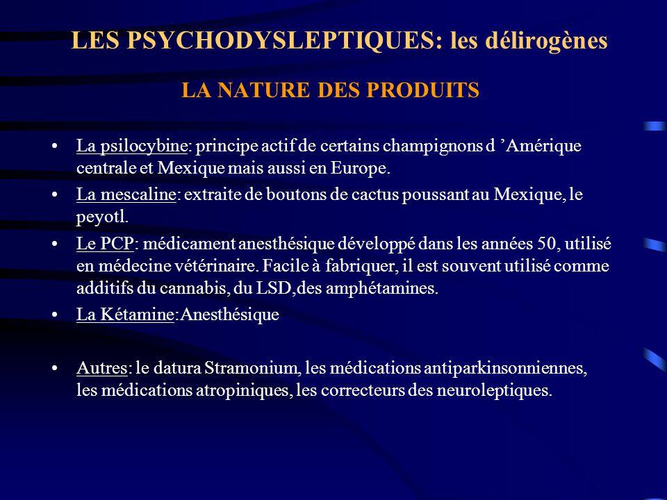 LES PSYCHODYSLEPTIQUES: les délirogènes LA NATURE DES PRODUITS La psilocybine: principe actif de certains champignons d 'Amérique centrale et Mexique