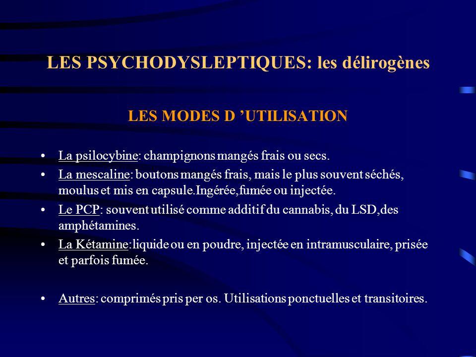 LES PSYCHODYSLEPTIQUES: les délirogènes LES MODES D 'UTILISATION La psilocybine: champignons mangés frais ou secs. La mescaline: boutons mangés frais,
